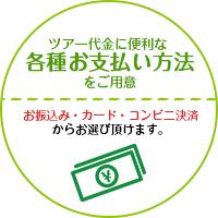 ツアー代金に便利な各種お支払い方法をご用意